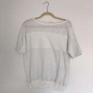 Vintage mesh and terry cloth tee, loose 80s fit